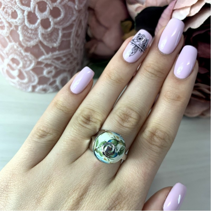 Серебряное кольцо SilverBreeze с емаллю (2003823) 18 размер