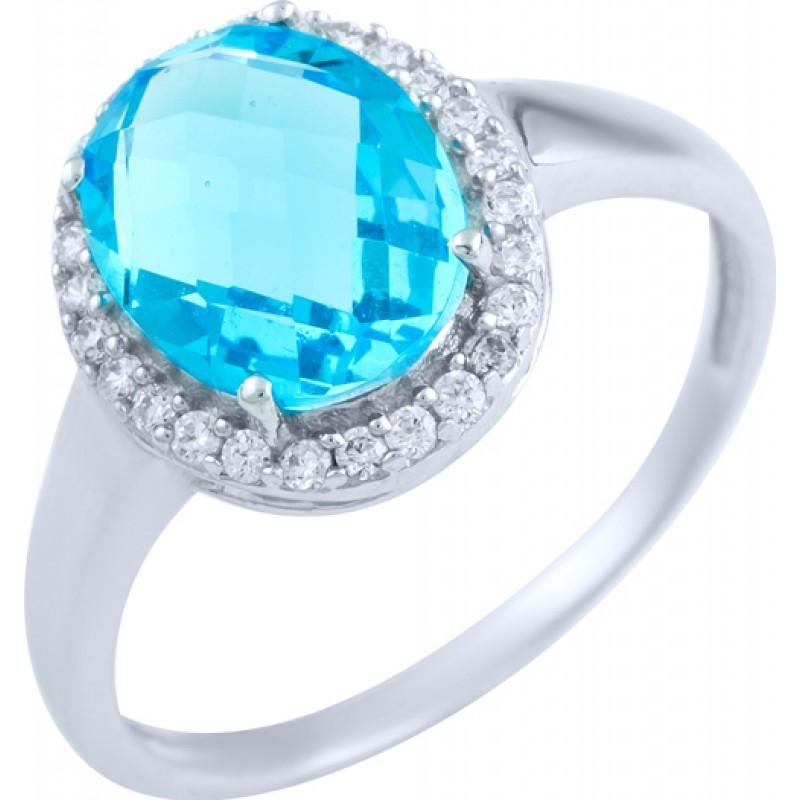 Серебряное кольцо SilverBreeze с аквамарином nano, фианитами (1891339) 16.5 размер