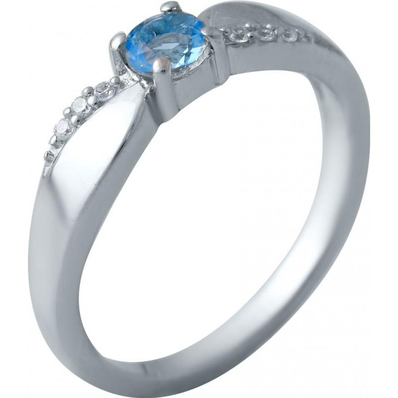 Серебряное кольцо SilverBreeze с аквамарином nano (2034865) 18 размер