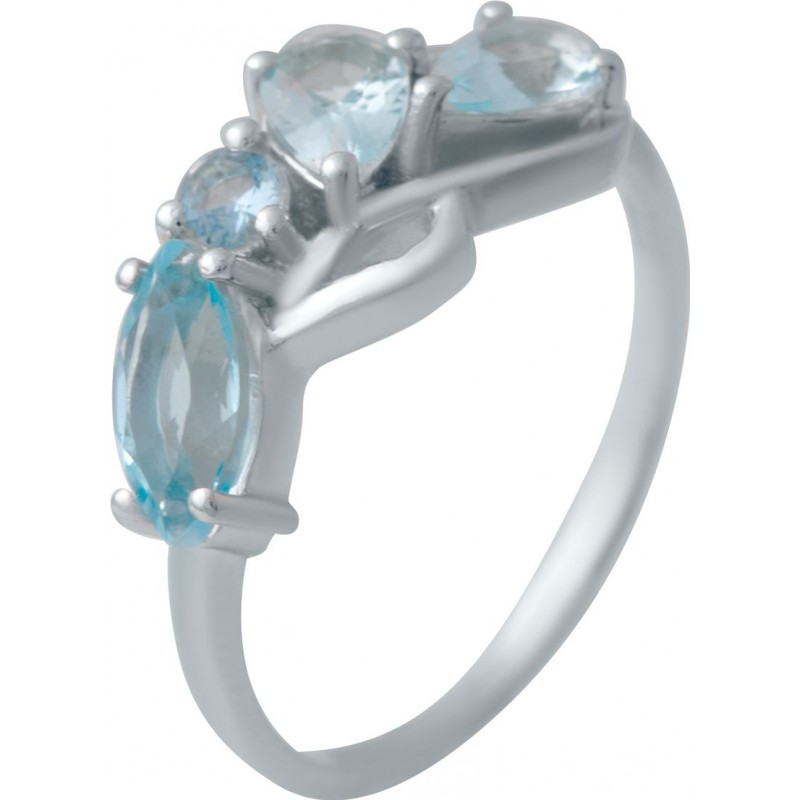 Серебряное кольцо SilverBreeze с аквамарином nano (2034773) 18 размер