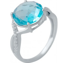 Серебряное кольцо SilverBreeze с аквамарином nano (2034711) 18 размер