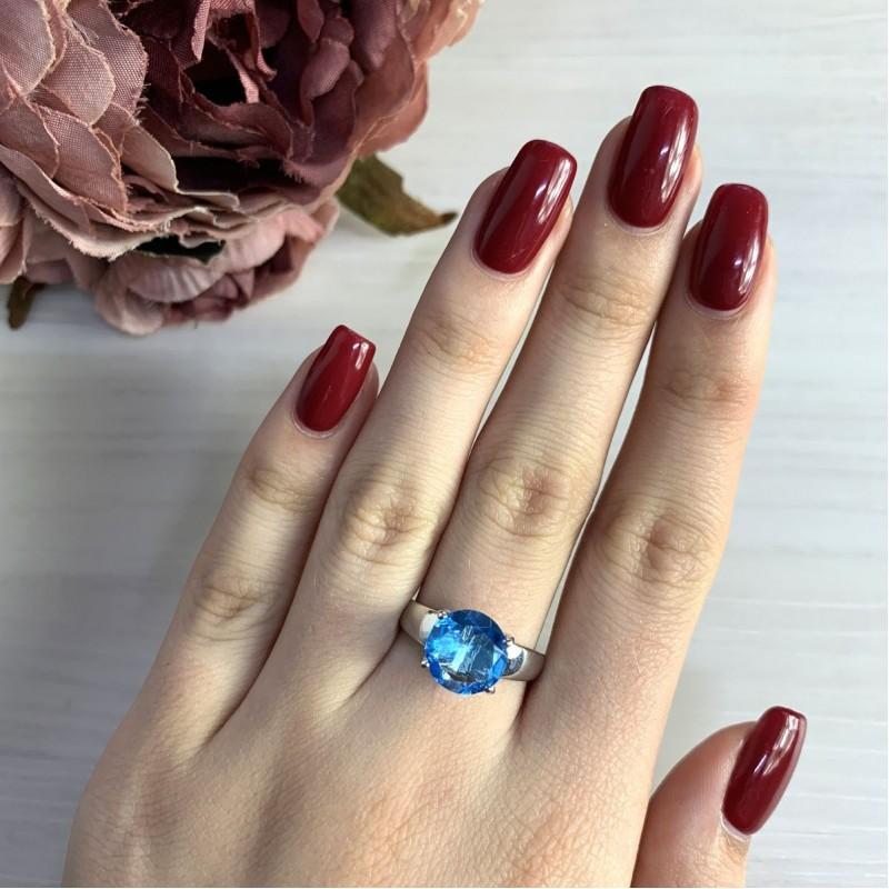 Серебряное кольцо SilverBreeze с аквамарином nano (2022503) 18 размер