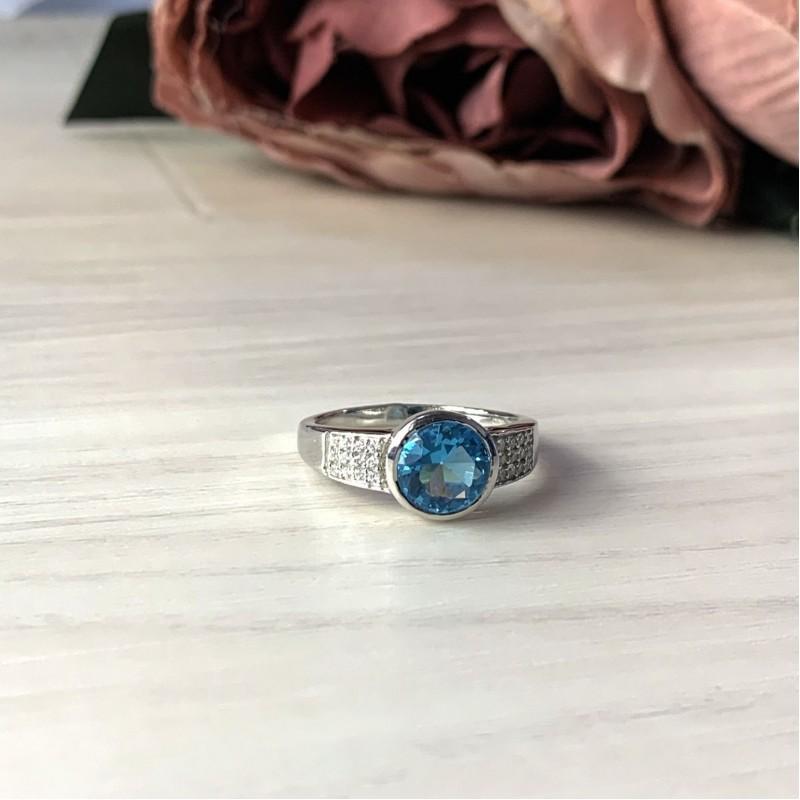 Серебряное кольцо SilverBreeze с аквамарином nano (2016762) 18.5 размер