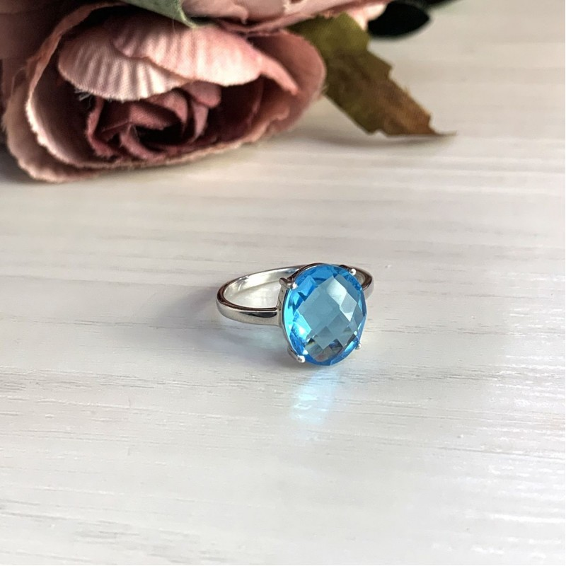 Серебряное кольцо SilverBreeze с аквамарином nano (2016632) 18 размер