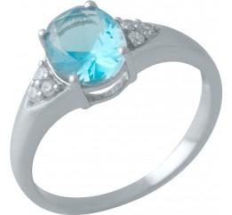 Серебряное кольцо SilverBreeze с аквамарином nano (2012665) 17.5 размер