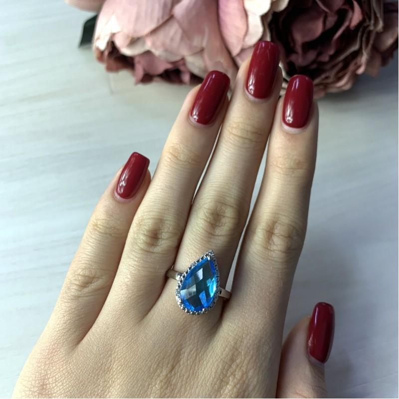 Серебряное кольцо SilverBreeze с аквамарином nano (1994627) 17.5 размер