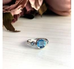 Серебряное кольцо SilverBreeze с аквамарином nano (1969021) 18 размер