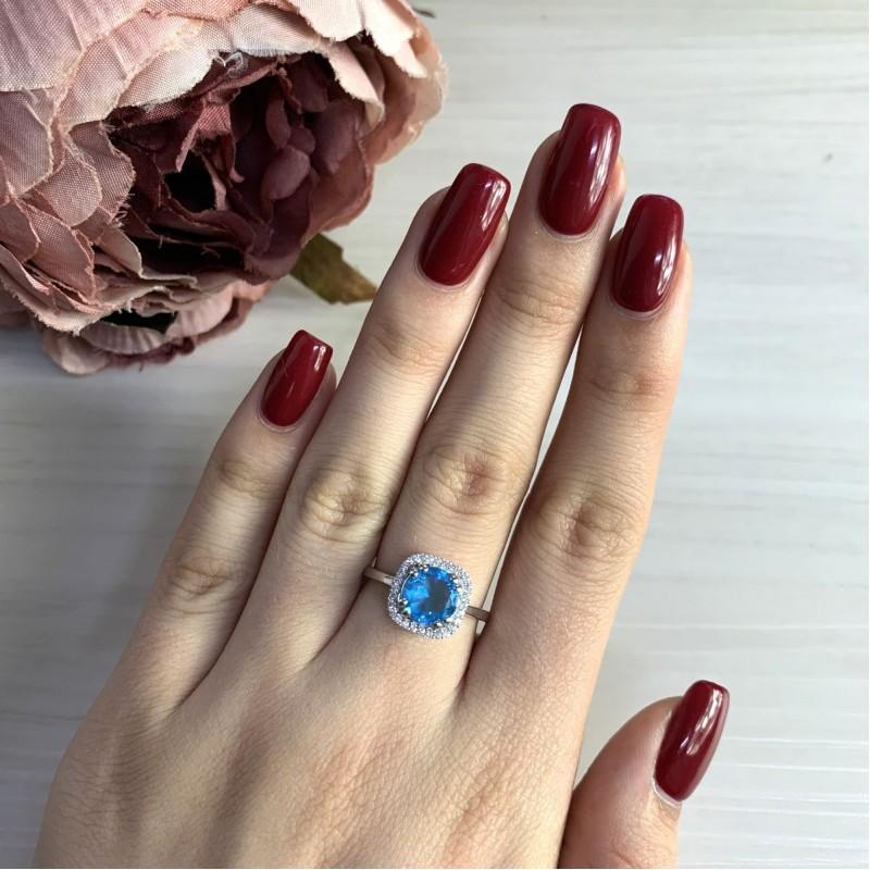 Серебряное кольцо SilverBreeze с аквамарином nano (1965337) 17.5 размер