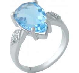 Серебряное кольцо SilverBreeze с аквамарином nano (1960202) 17 размер
