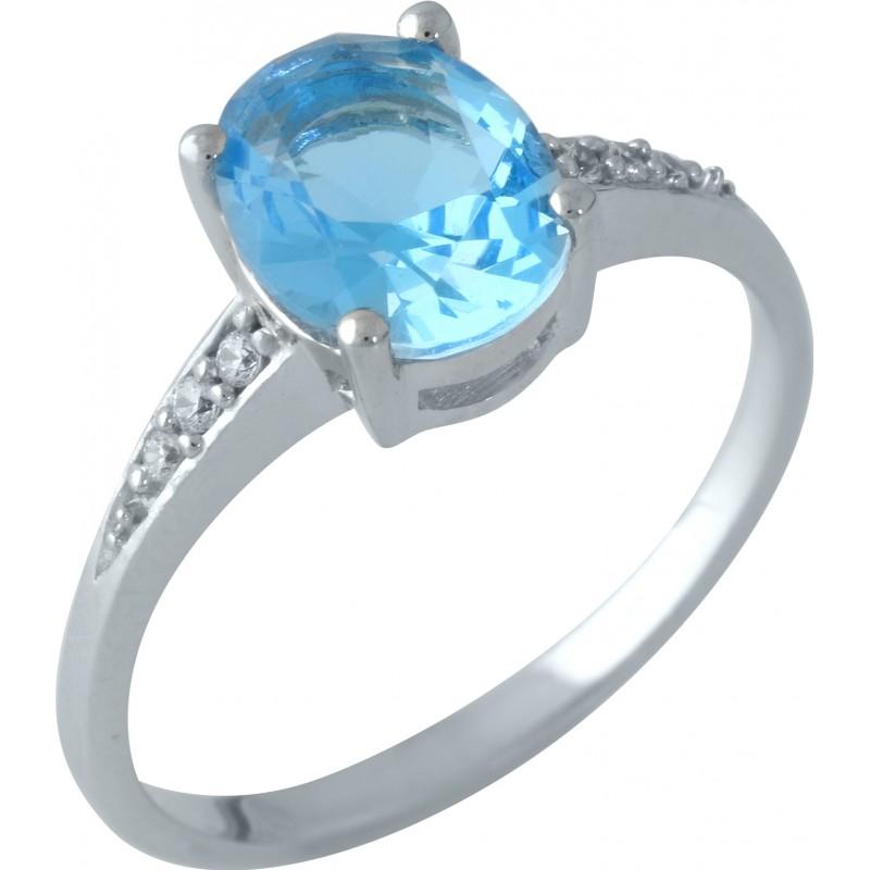 Серебряное кольцо SilverBreeze с аквамарином nano (1957943) 17 размер