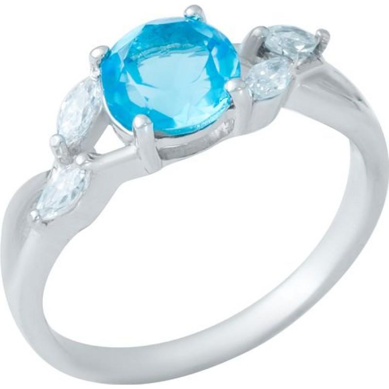 Серебряное кольцо SilverBreeze с аквамарином nano (1950029) 18.5 размер