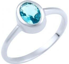 Серебряное кольцо SilverBreeze с аквамарином nano (1891315) 18 размер