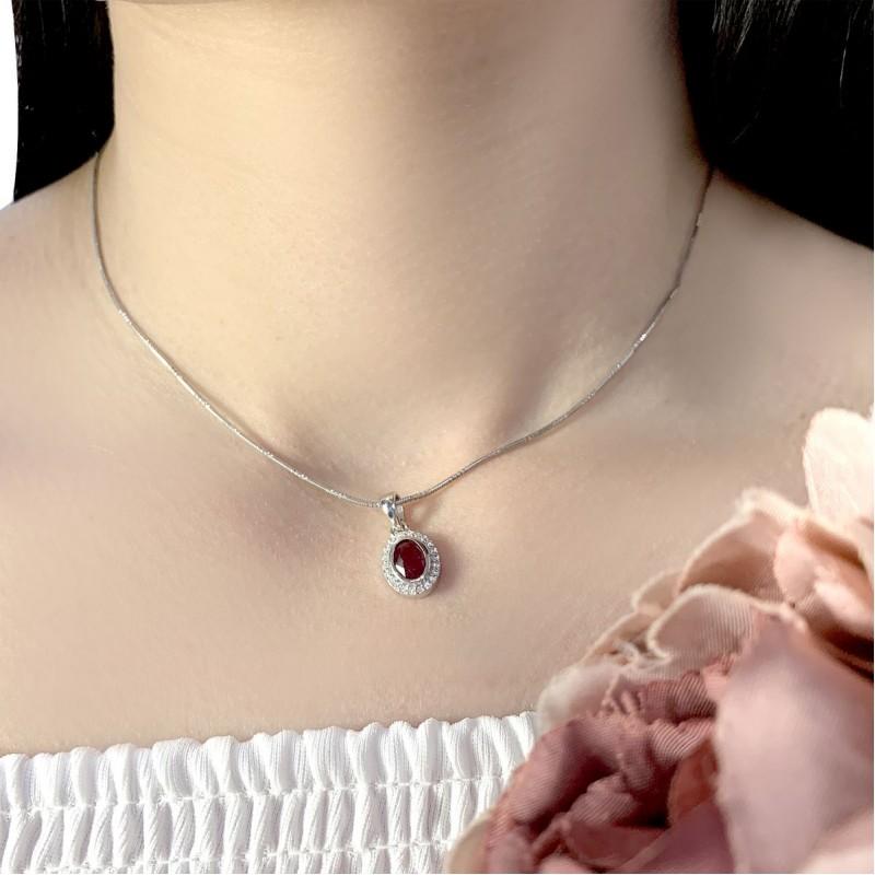 Серебряная подвеска SilverBreeze с рубином (1633267)