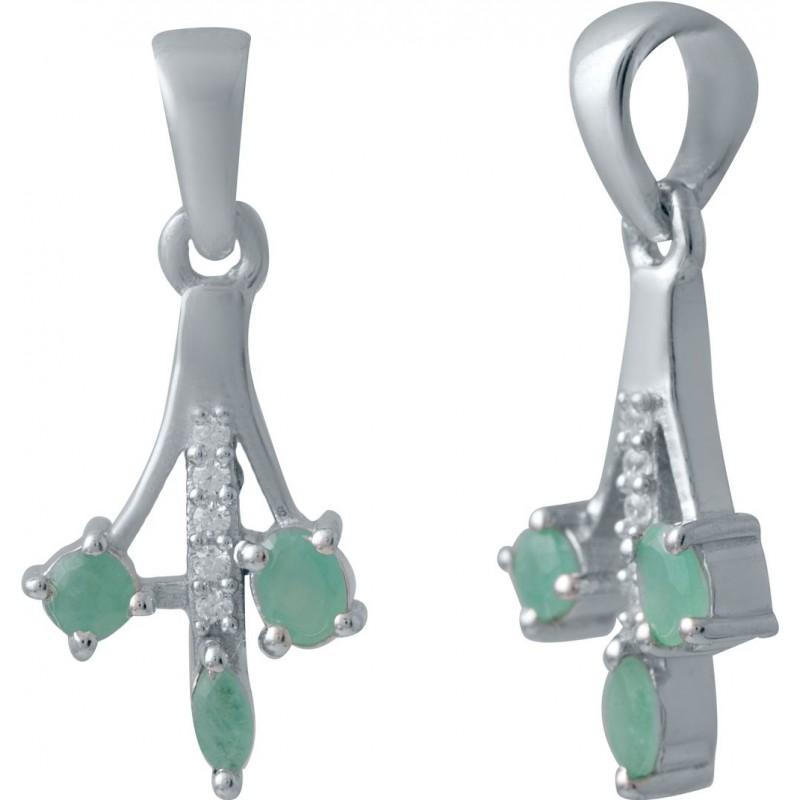 Серебряная подвеска SilverBreeze с изумрудом (2027287)
