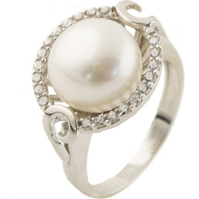 Серебряное кольцо SilverBreeze с натуральным жемчугом (0364995) 15.5 размер