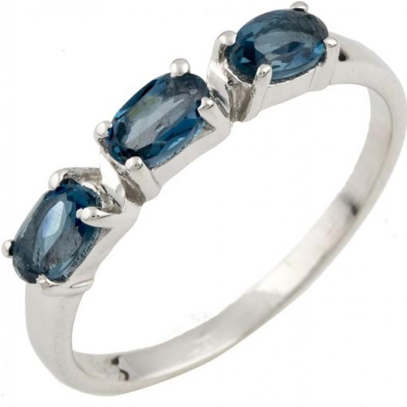 Серебряное кольцо SilverBreeze с натуральным топазом Лондон Блю (0463070) 17 размер