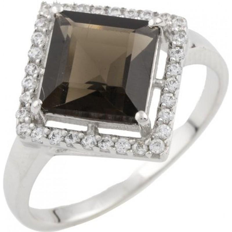 Серебряное кольцо SilverBreeze с натуральным раухтопазом (димчатим кварцем) (0464701) 17 размер