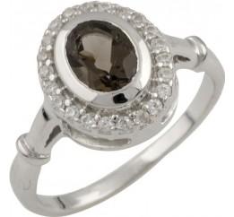 Серебряное кольцо SilverBreeze с натуральным раухтопазом (димчатим кварцем) (0464800) 18 размер
