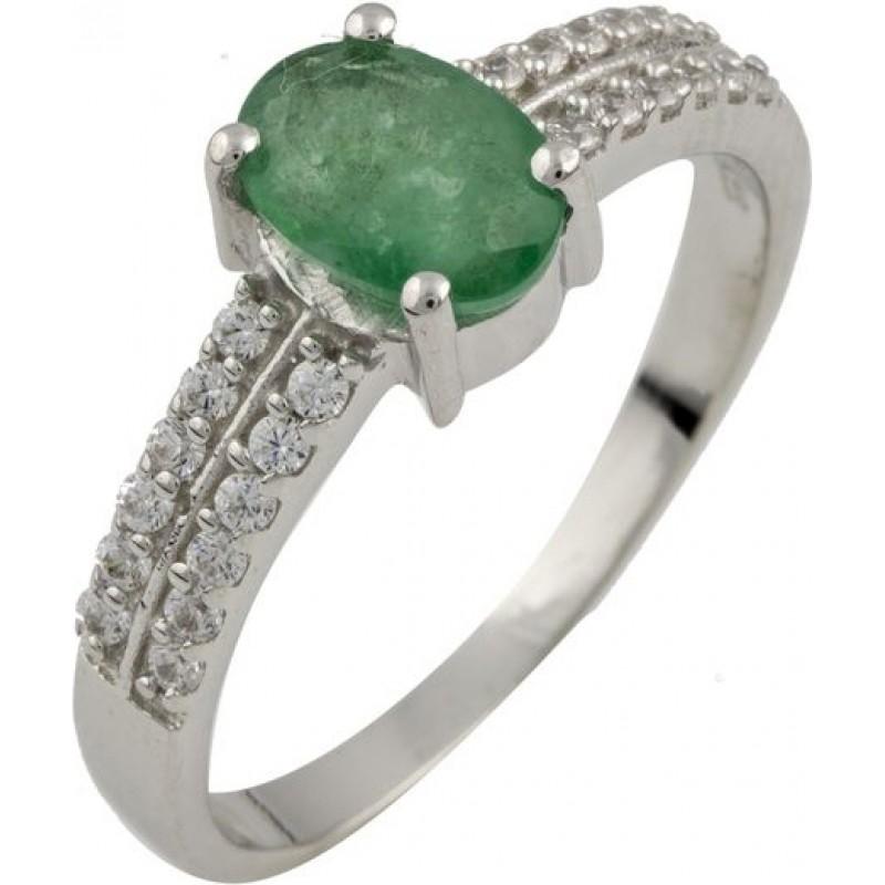 Серебряное кольцо SilverBreeze с натуральным изумрудом (0465326) 17 размер