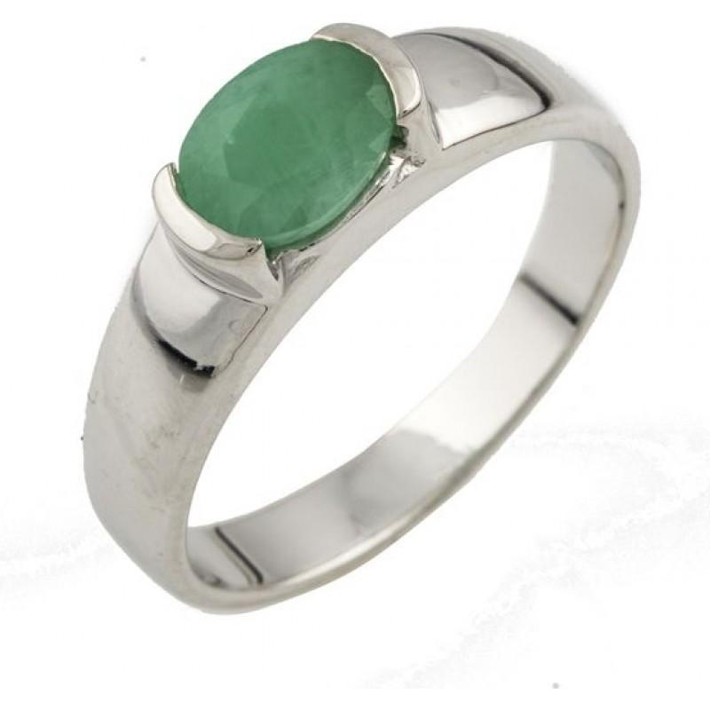 Серебряное кольцо SilverBreeze с натуральным изумрудом (0465531) 18 размер