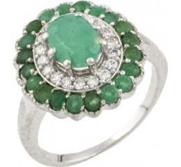 Серебряное кольцо SilverBreeze с натуральным изумрудом (0466385) 18 размер