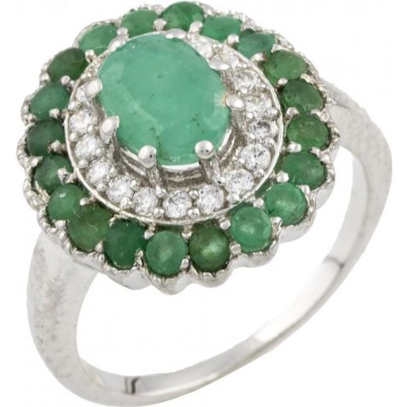 Серебряное кольцо SilverBreeze с натуральным изумрудом (0466385) 17 размер