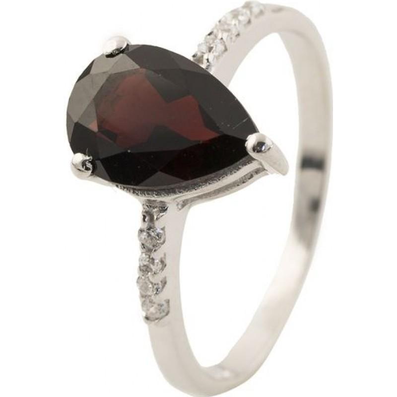 Серебряное кольцо SilverBreeze с натуральным гранатом (0504704) 17 размер