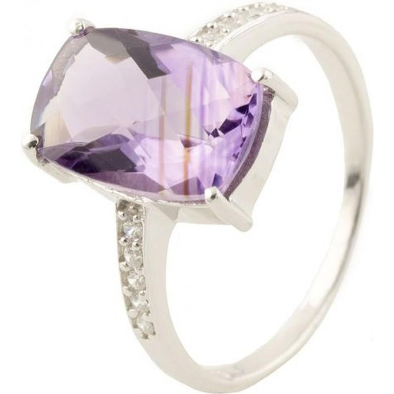 Серебряное кольцо SilverBreeze с натуральным аметистом (0514611) 18 размер