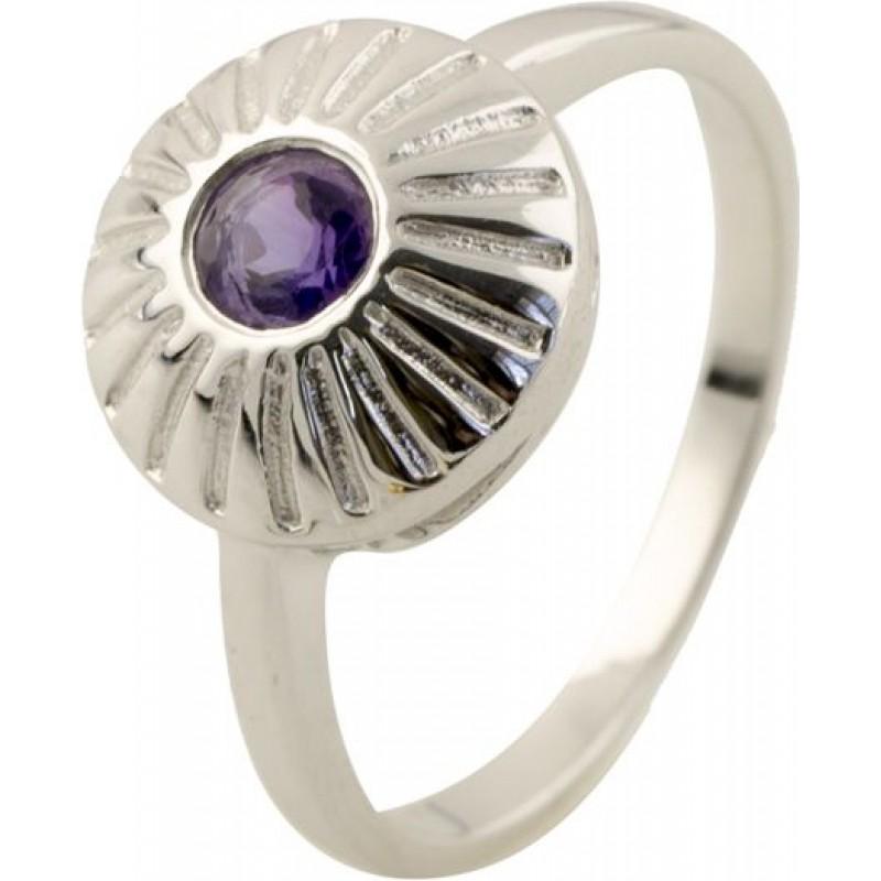 Серебряное кольцо SilverBreeze с натуральным аметистом (0516080) 17 размер