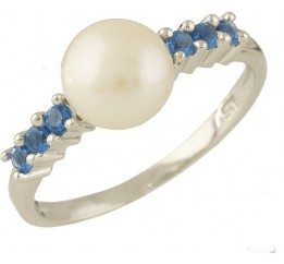 Серебряное кольцо SilverBreeze с натуральным жемчугом, топазом Лондон Блю (0707754) 16.5 размер