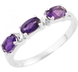 Серебряное кольцо SilverBreeze с натуральным аметистом (0928968) 17.5 размер