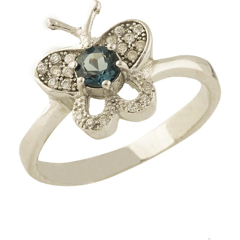 Серебряное кольцо SilverBreeze с натуральным топазом Лондон Блю (0837246) 17.5 размер