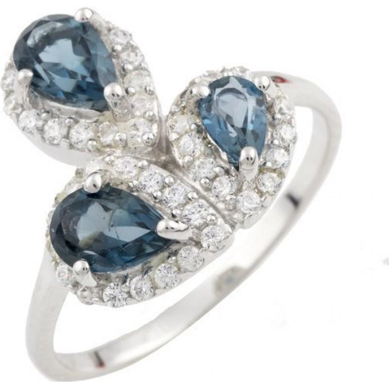 Серебряное кольцо SilverBreeze с натуральным топазом Лондон Блю (1073957) 16 размер