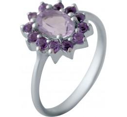 Серебряное кольцо SilverBreeze с натуральным аметистом (1139684) 17 размер