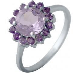 Серебряное кольцо SilverBreeze с натуральным аметистом (1140031) 18 размер