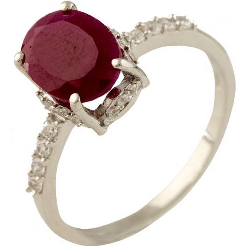Серебряное кольцо SilverBreeze с натуральным рубином (1231333) 17.5 размер