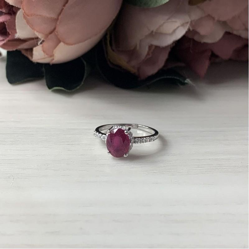 Серебряное кольцо SilverBreeze с натуральным рубином (1231333) 17 размер