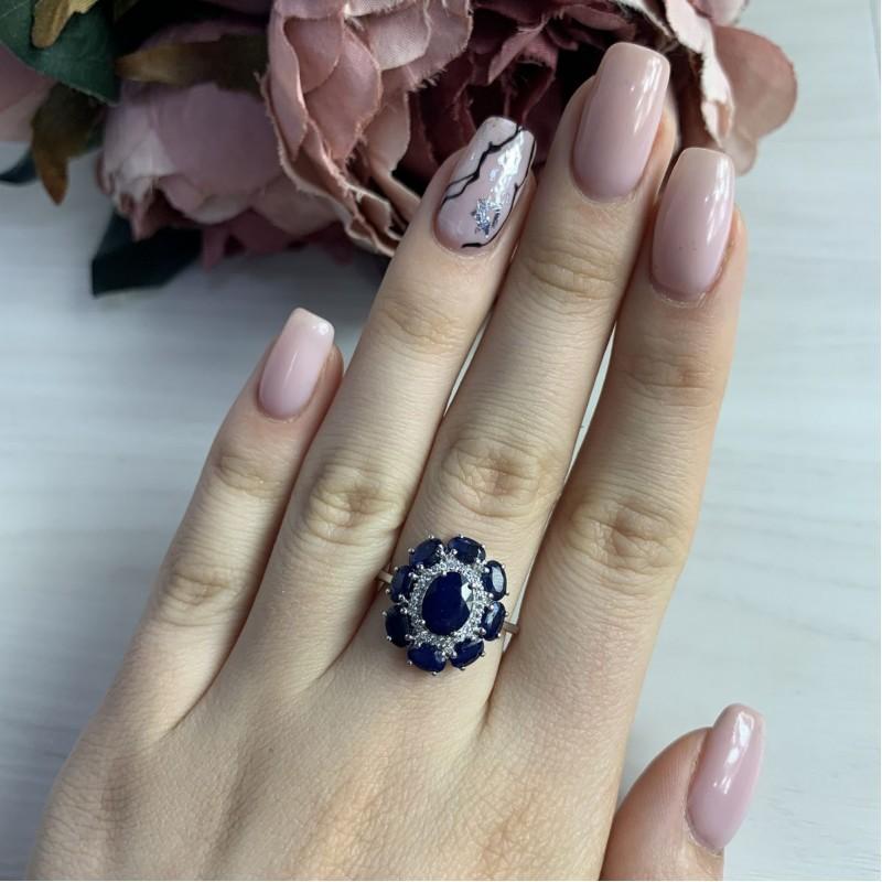 Серебряное кольцо SilverBreeze с натуральным сапфиром (1236413) 17.5 размер