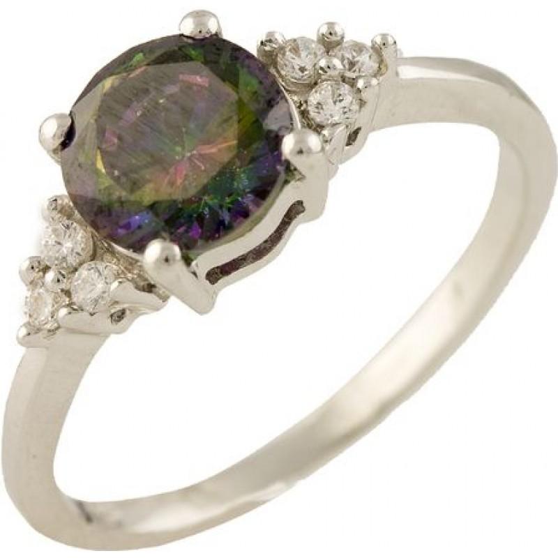 Серебряное кольцо SilverBreeze с натуральным мистик топазом (1247280) 18 размер
