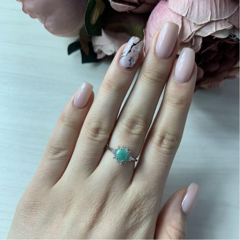 Серебряное кольцо SilverBreeze с натуральным изумрудом (1452066) 17.5 размер
