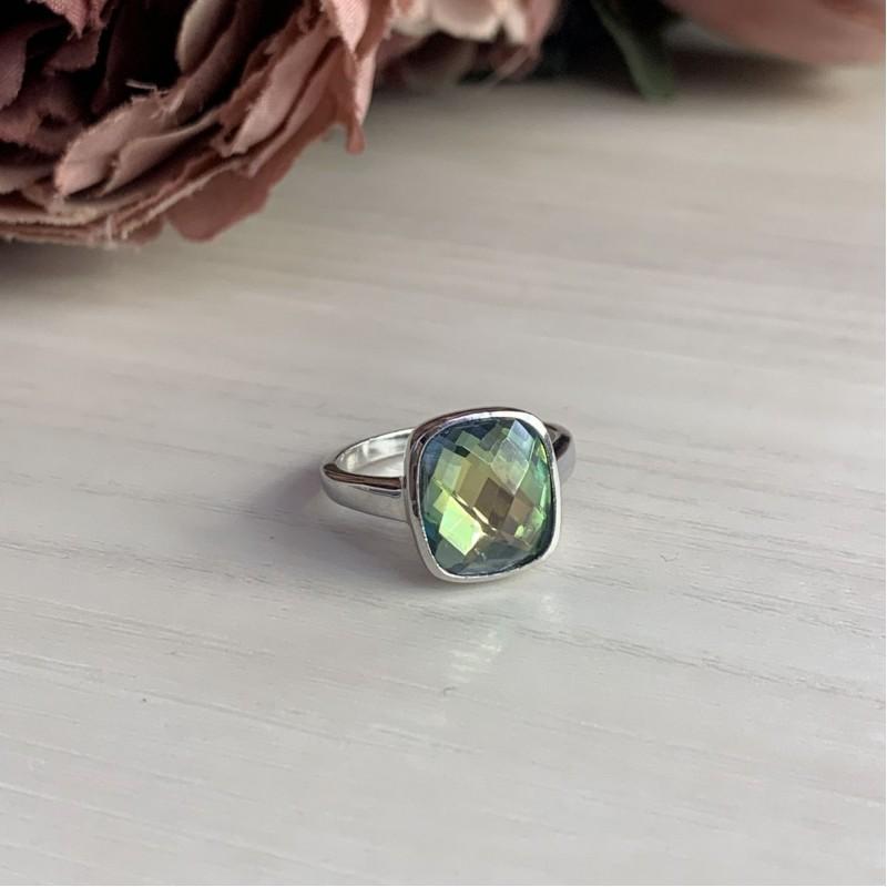 Серебряное кольцо SilverBreeze с натуральным мистик топазом (1456477) 17.5 размер