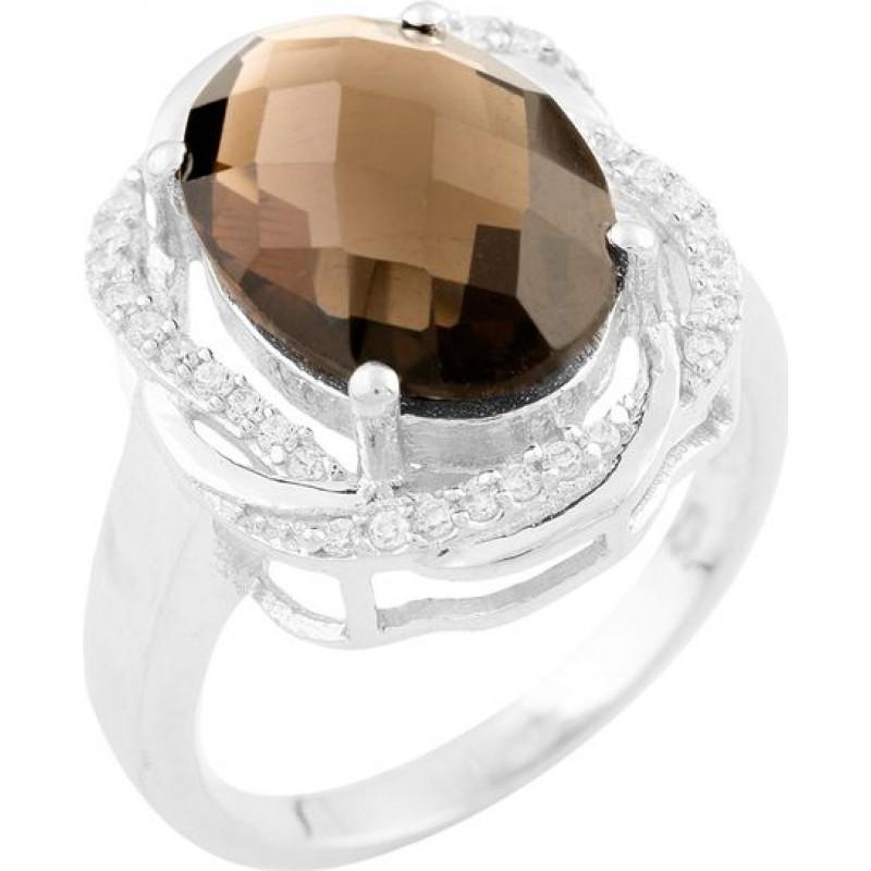 Серебряное кольцо SilverBreeze с натуральным раухтопазом (димчатим кварцем) (1533932) 17 размер