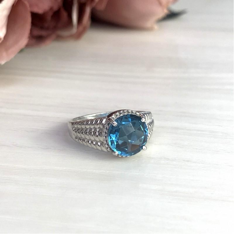 Серебряное кольцо SilverBreeze с натуральным топазом Лондон Блю (1634394) 18.5 размер