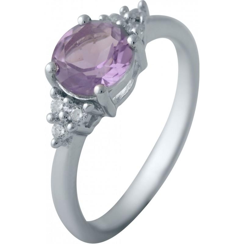 Серебряное кольцо SilverBreeze с натуральным аметистом (1634523) 18 размер