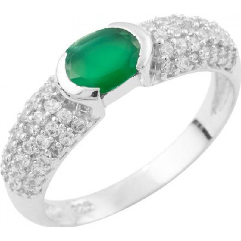 Серебряное кольцо SilverBreeze с натуральным агатом (1649992) 17.5 размер