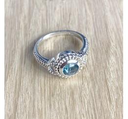 Серебряное кольцо SilverBreeze с натуральным топазом Лондон Блю (1655313) 18 размер