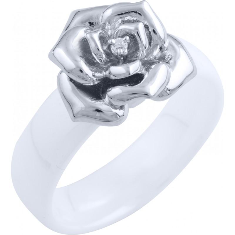 Серебряное кольцо SilverBreeze с керамикой (1734452) 17.5 размер