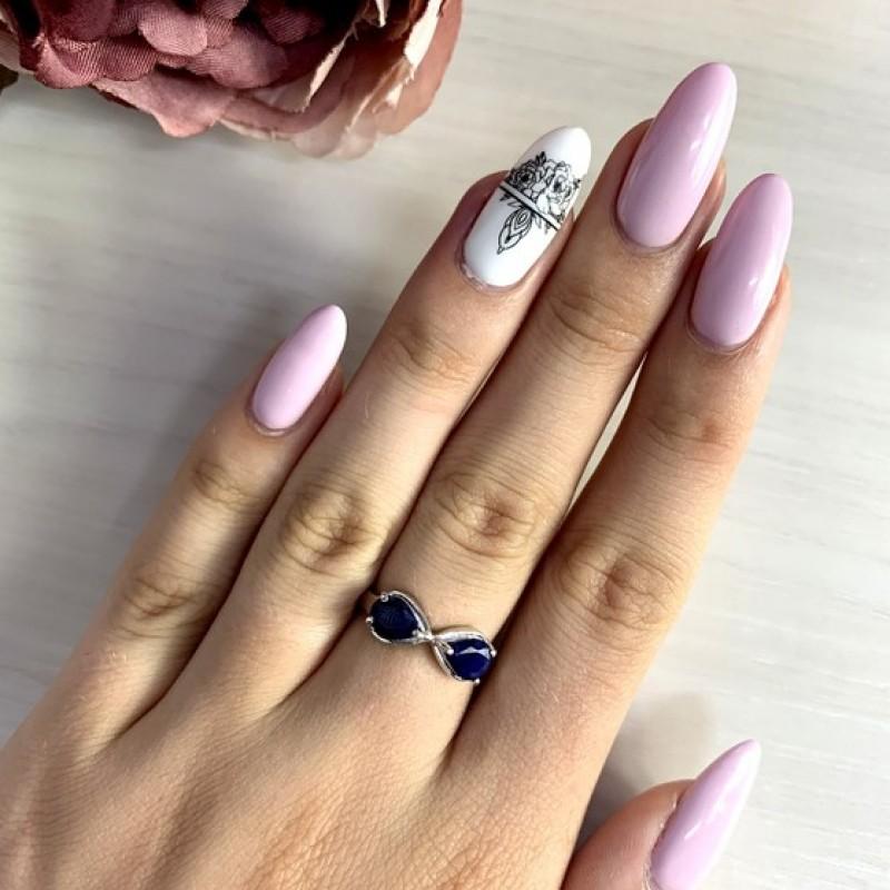 Серебряное кольцо SilverBreeze с натуральным сапфиром (1762912) 16.5 размер