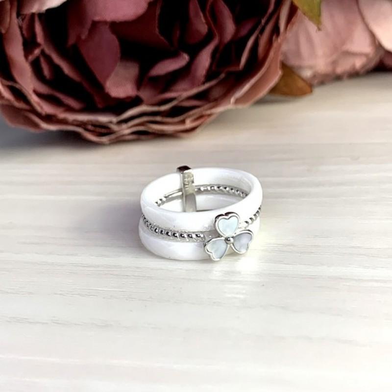Серебряное кольцо SilverBreeze с натуральным керамикой, перламутром (1764879) 18 размер