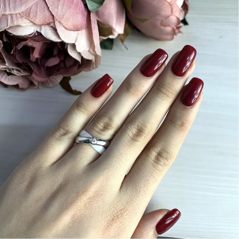 Серебряное кольцо SilverBreeze с керамикой (1765043) 18 размер